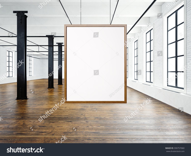 photo of empty interior in modern loft open space loftempty white canvas hanging