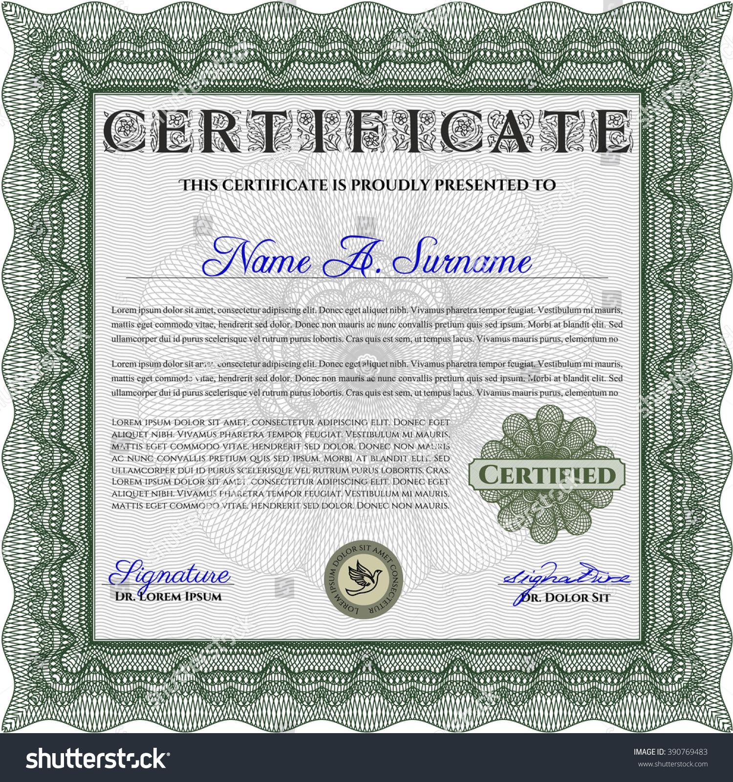 Nice certificate achievement template ornament examples green certificate achievement template sophisticated design stock yelopaper Choice Image