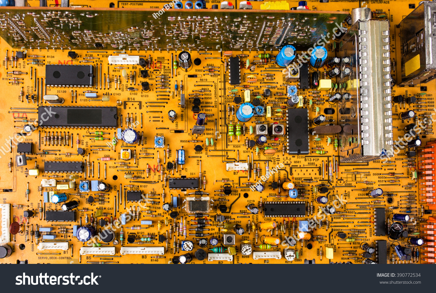 Vintage Orange Printed Circuit Board Pcb Stock Photo Edit Now Production Buy Boardpcb With Many Electrical Components