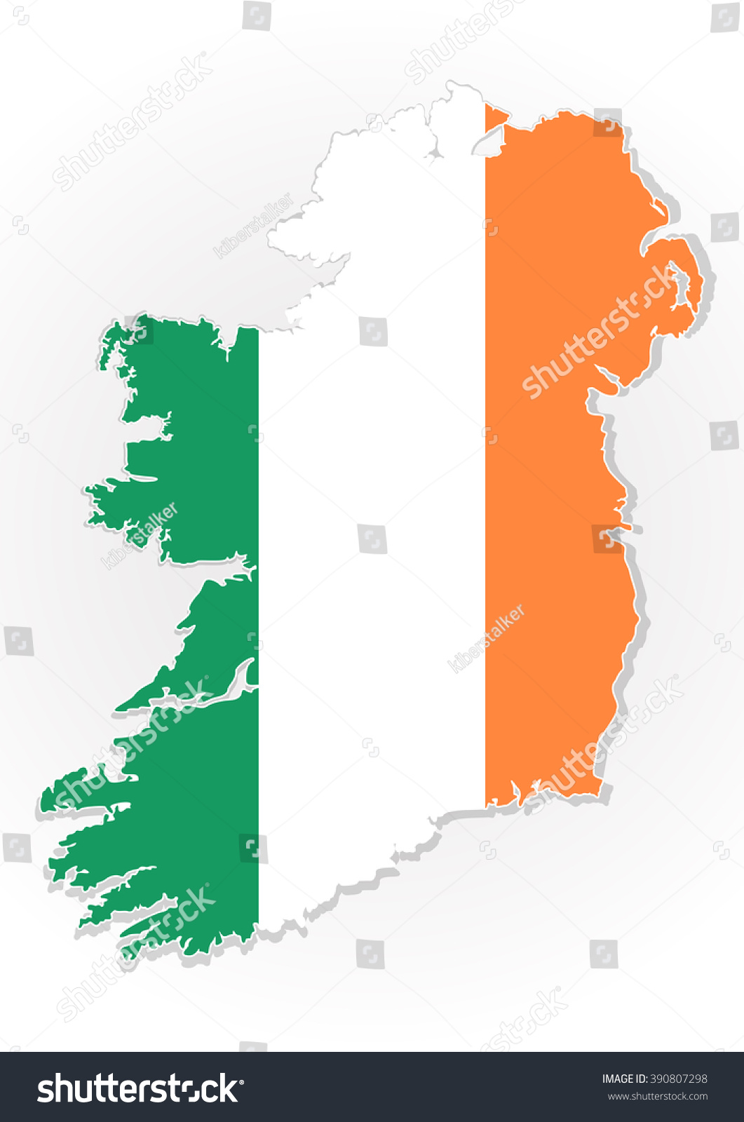 map republic ireland national flag isolated stock vector 390807298