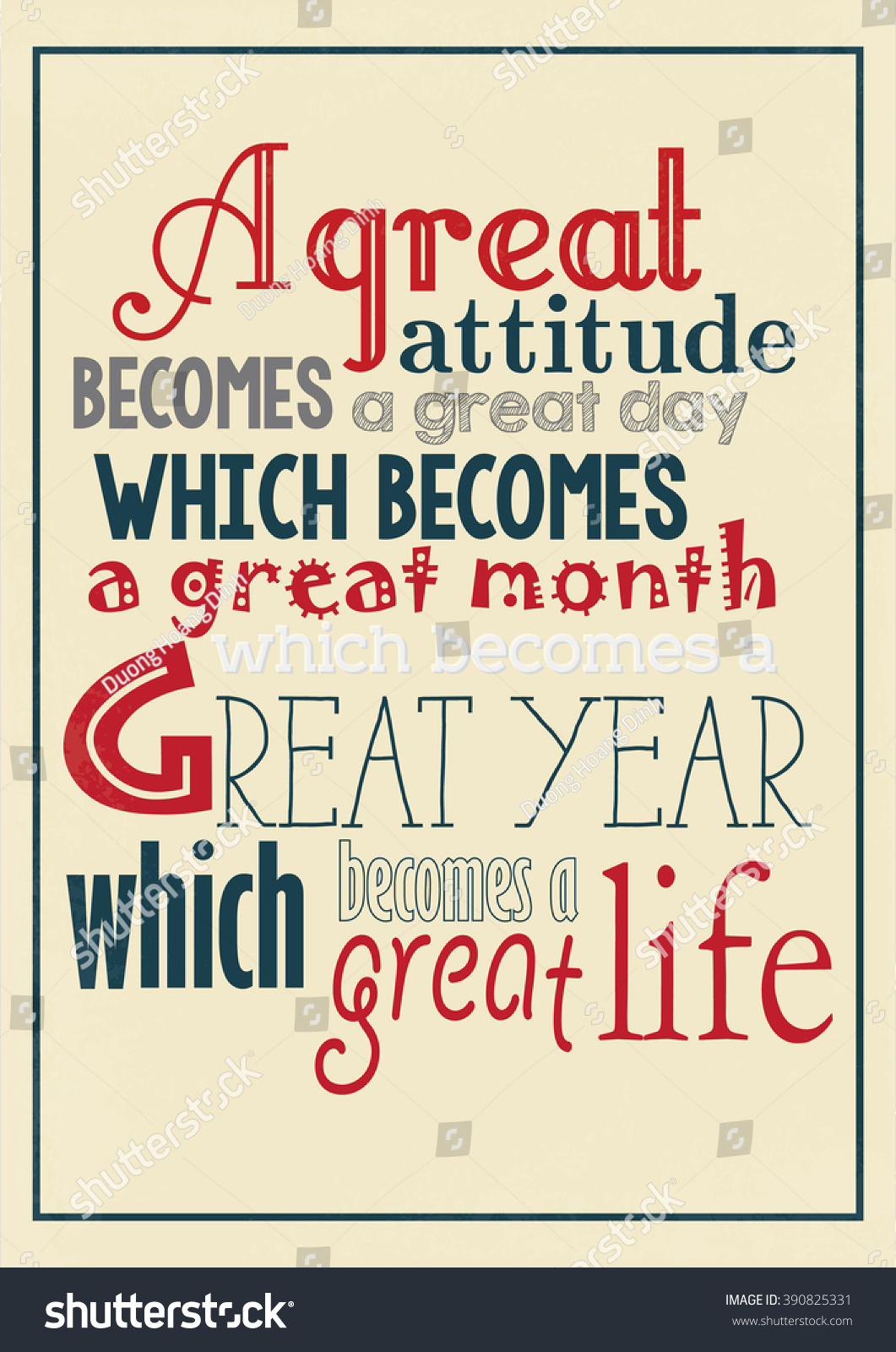 Great Day Quotes Life Quote Great Attitude Becomes Great Stock Vector 390825331