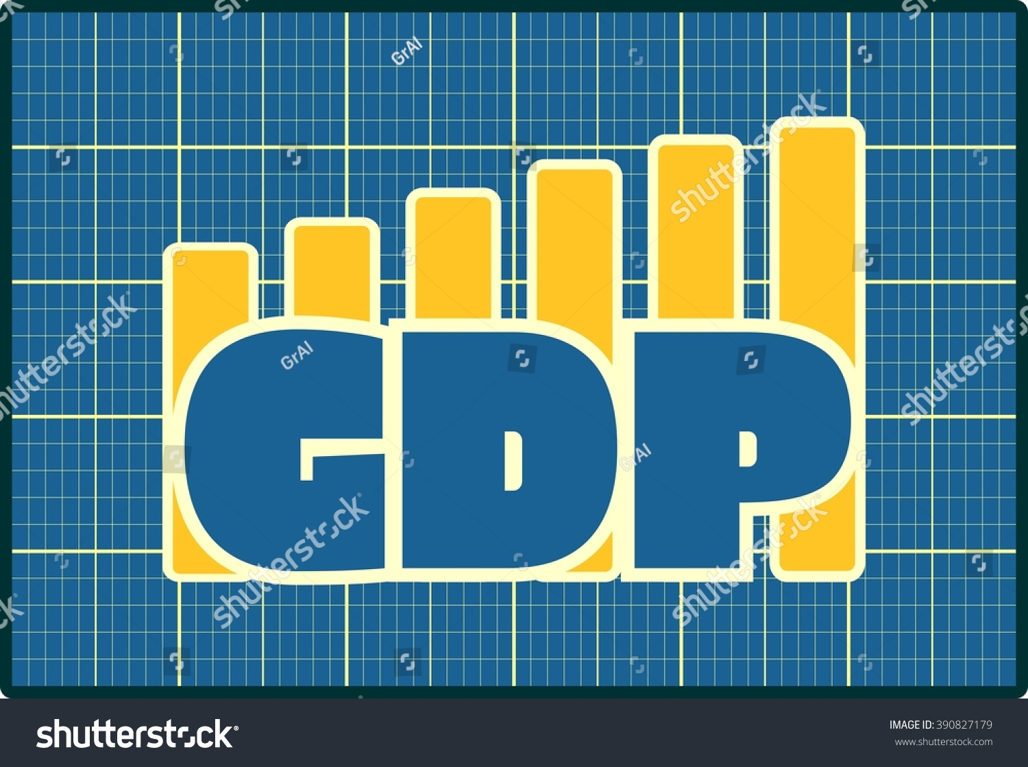 Blue GDP Text On Yellow Chart Stock Illustration 390827179 ...