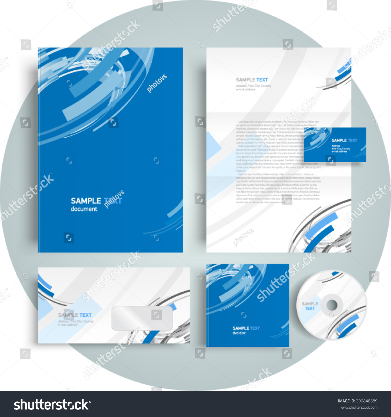 Corporate Identity Design Template Abstract Curves Stock Vector