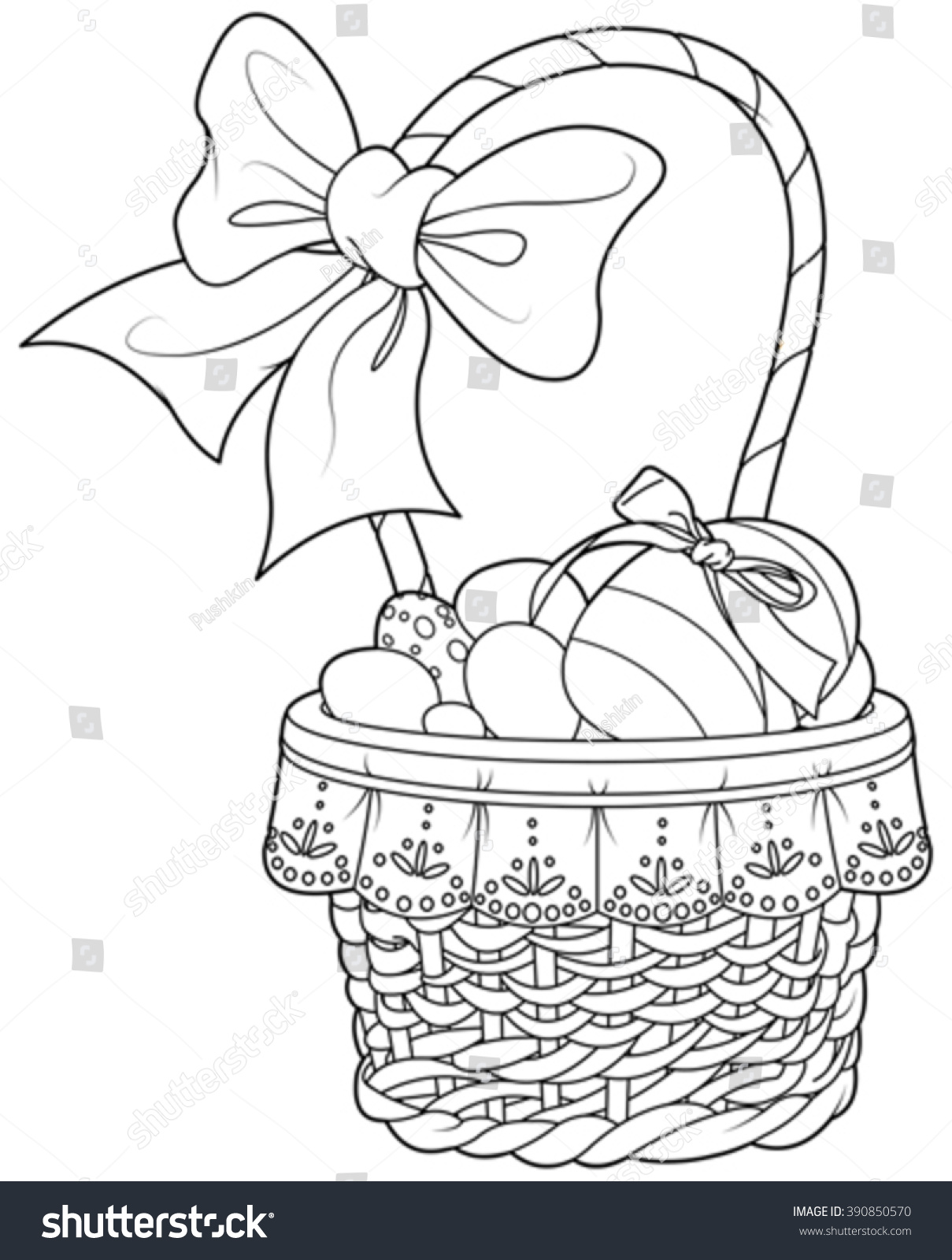 Coloring Page Pretty Easter Basket Full Stock Vector (2018 ...