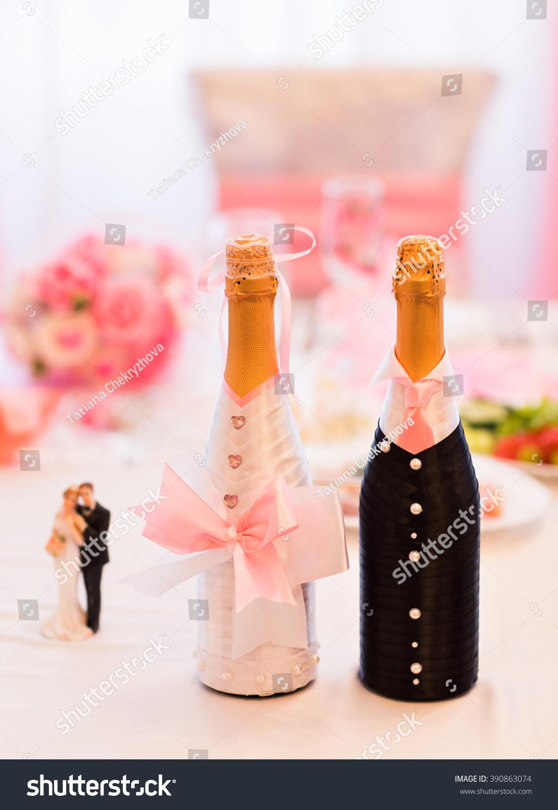 Champagne Bottle Decoration Champagne Bottles Decoration Wedding Day Stock Photo 390863074