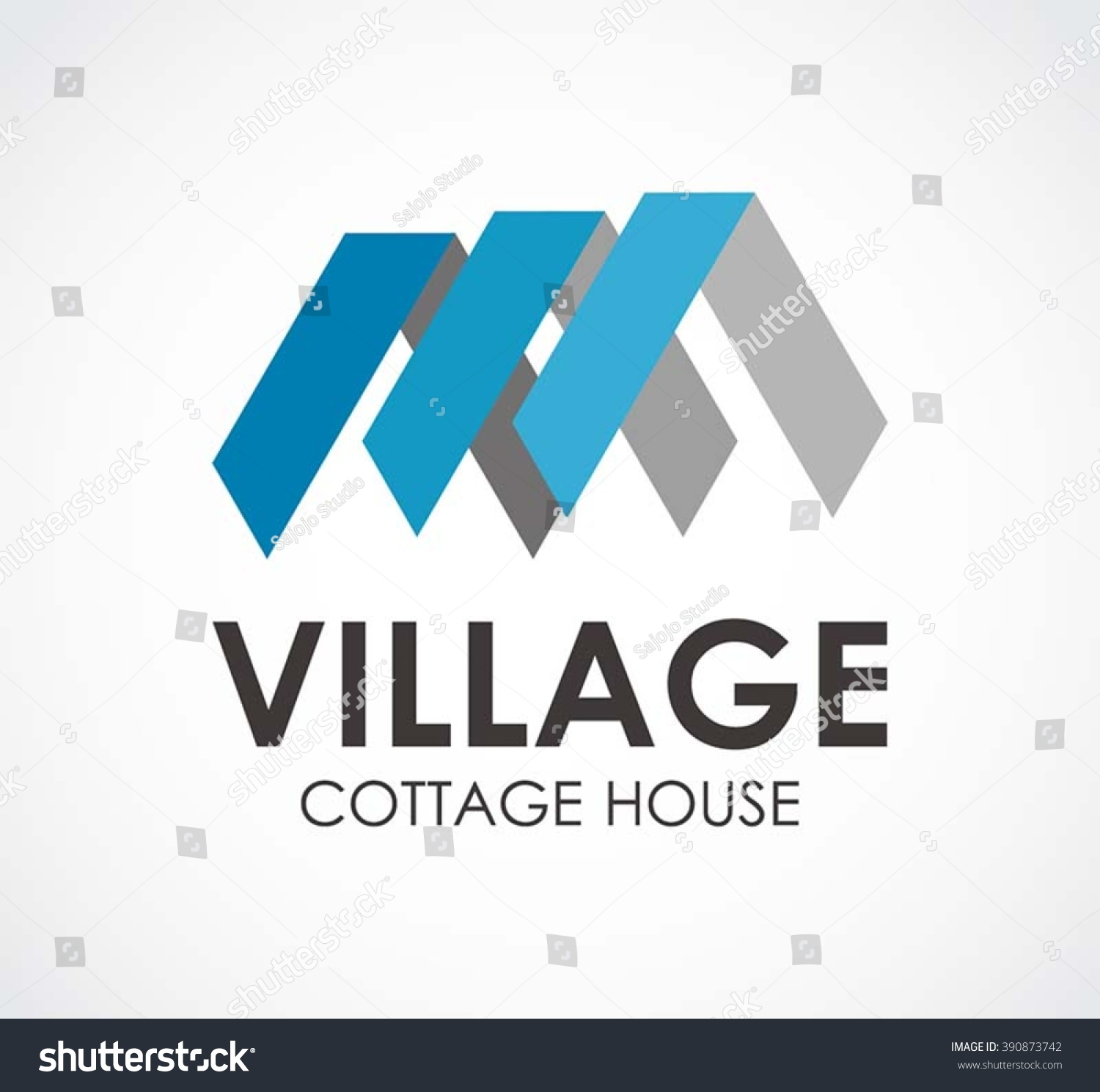 Village Roof Of House Ribbon Abstract Vector And Logo Design Or Template Cottage Business Icon