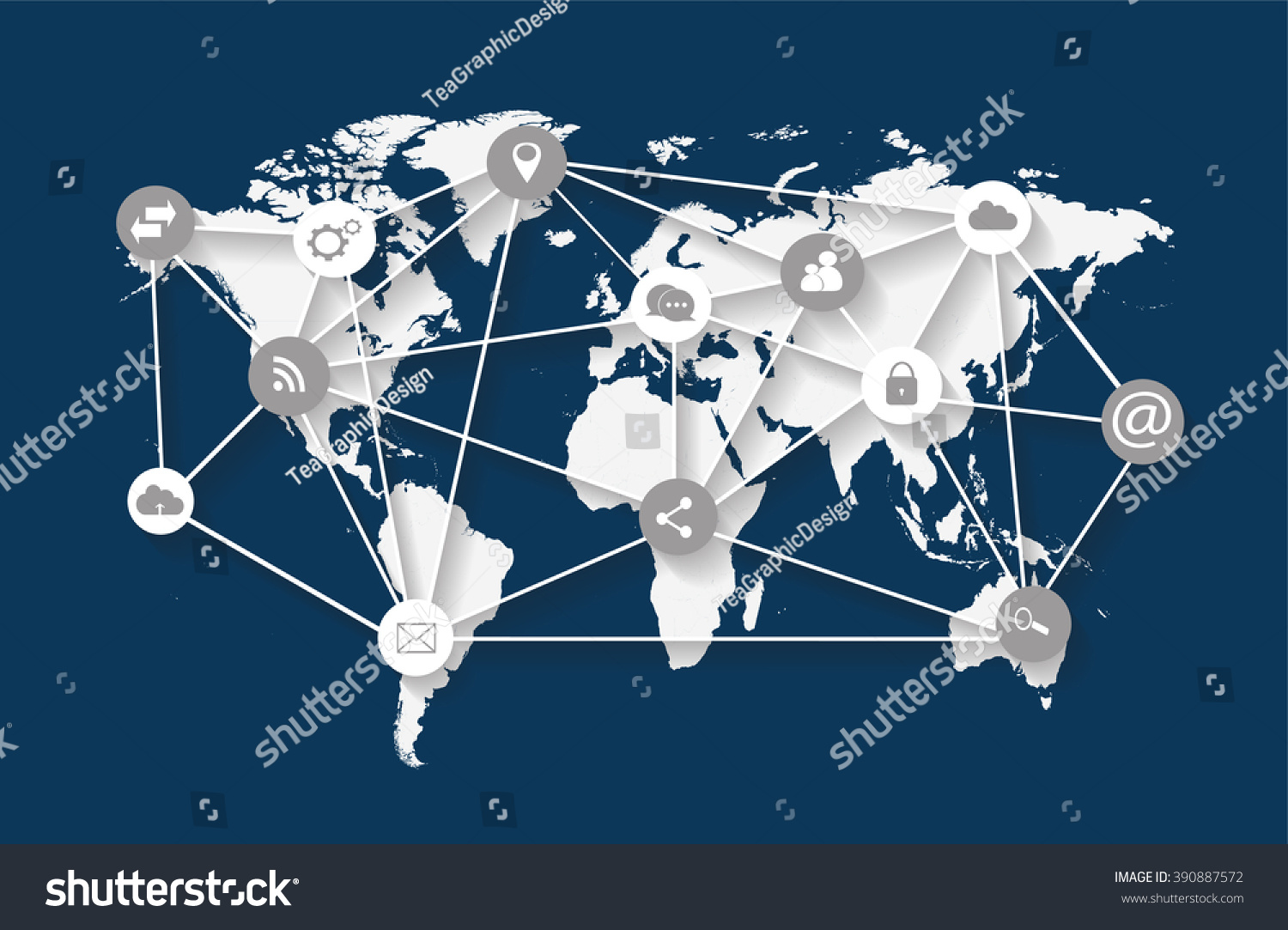 World map vector flat white infographics stock vector 390887572 world map vector flat white infographics with social media icons gumiabroncs Choice Image