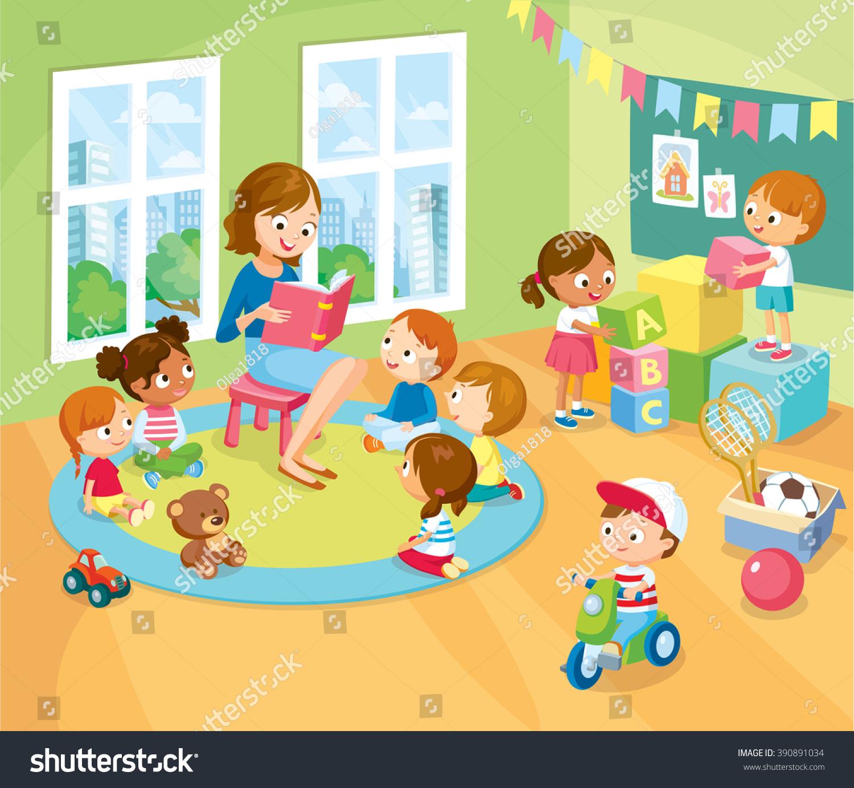 childrens activity kinder garden reading books stock vector 390891034 shutterstock. Black Bedroom Furniture Sets. Home Design Ideas