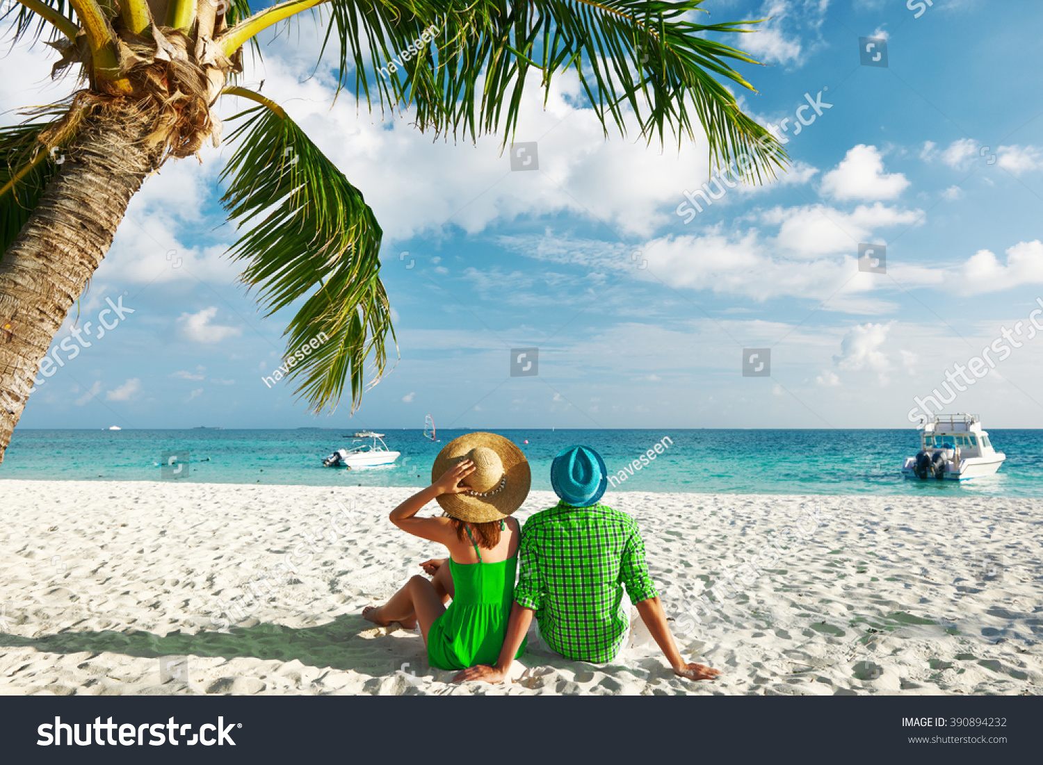 Couple green clothes on tropical beach stock photo for Tropical vacations for couples