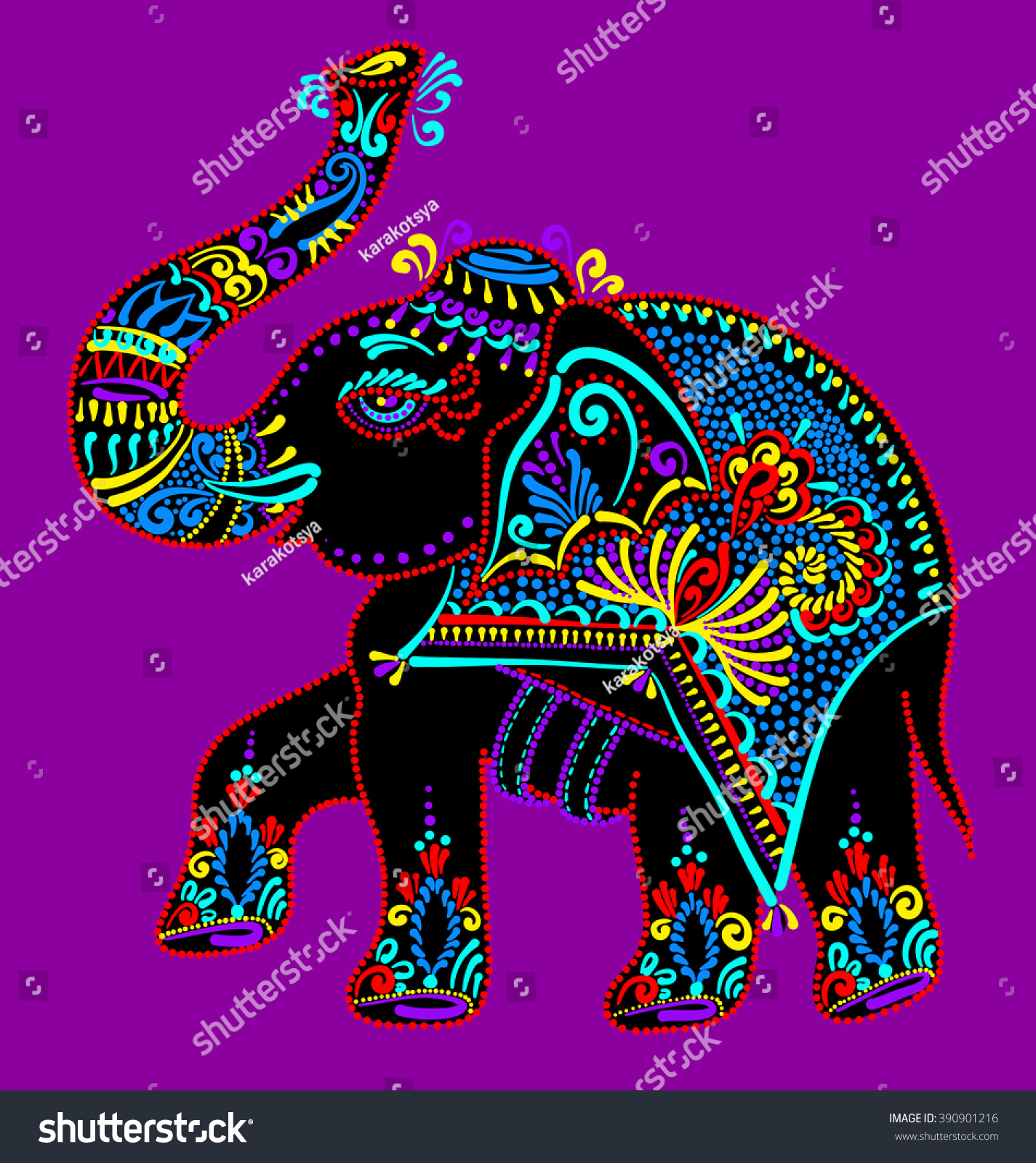 100 Wall Decals Indian Elephant Tribal Green Ganesha