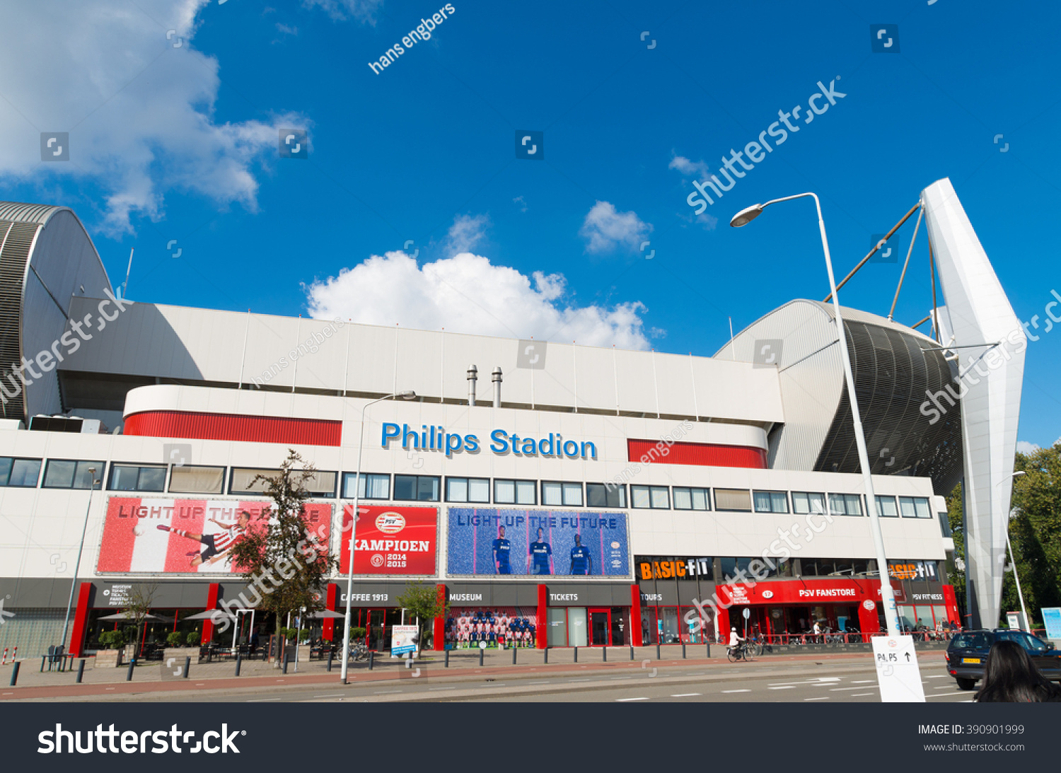 EINDHOVEN NETHERLANDS AUGUST 26 2015 Exterior of the Philips football stadium home to PSV football club founded on August 31 1913 PSV became 22 times dutch champion