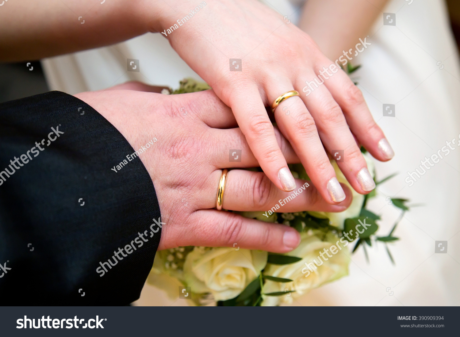 Bride Groom Hands Engagement Rings Bridal Stock Photo & Image ...