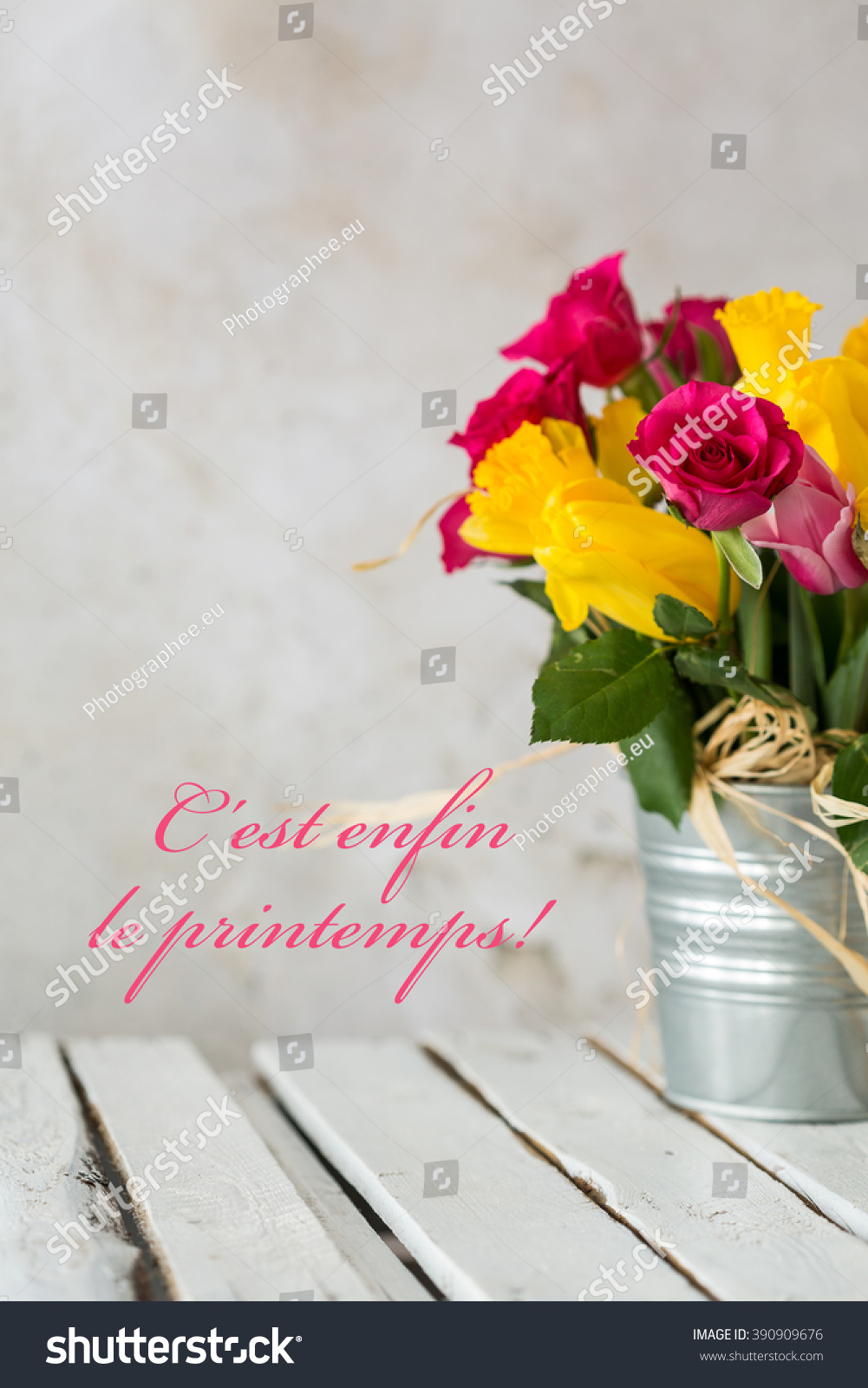 Bouquet Flowers Silver Pot Standing On Stock Photo Royalty Free