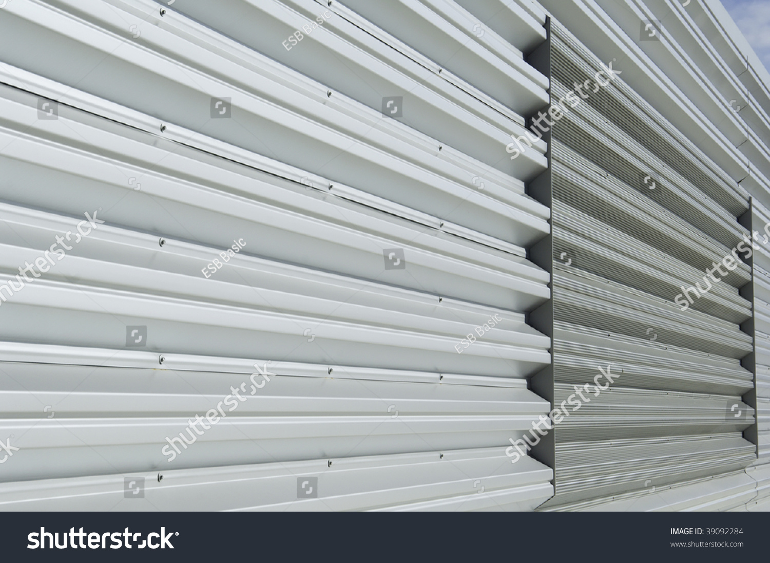 Metal siding on building on college campus stock photo for Horizontal metal siding