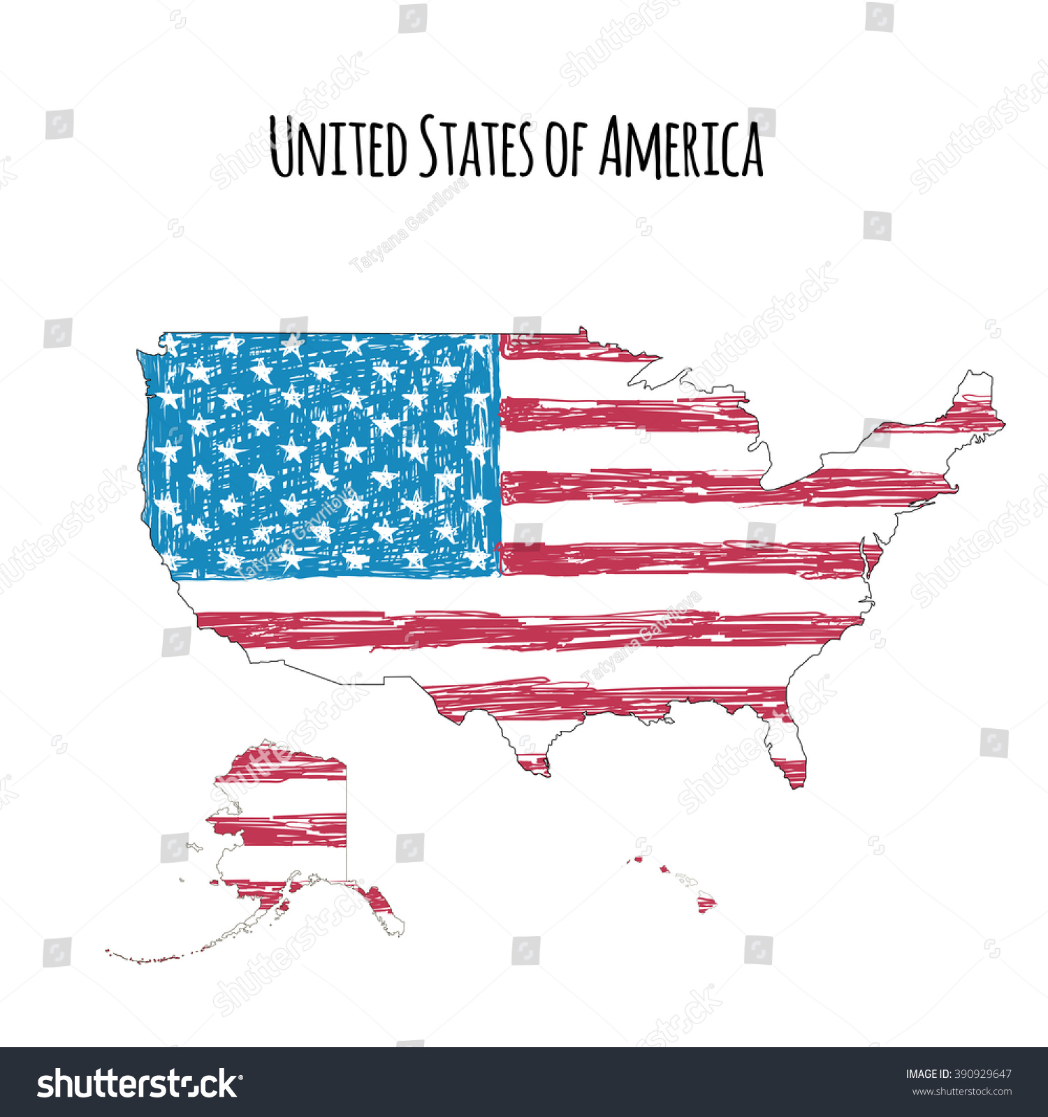 Us Map Handdrawn Flag Isolated On Stock Vector - Hand drawn us map vector