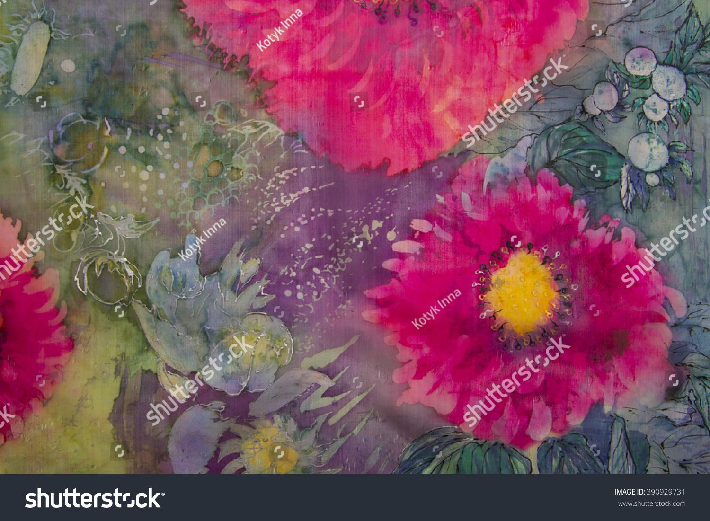 Red Flowers On Green Background Batik Stock Illustration 390929731