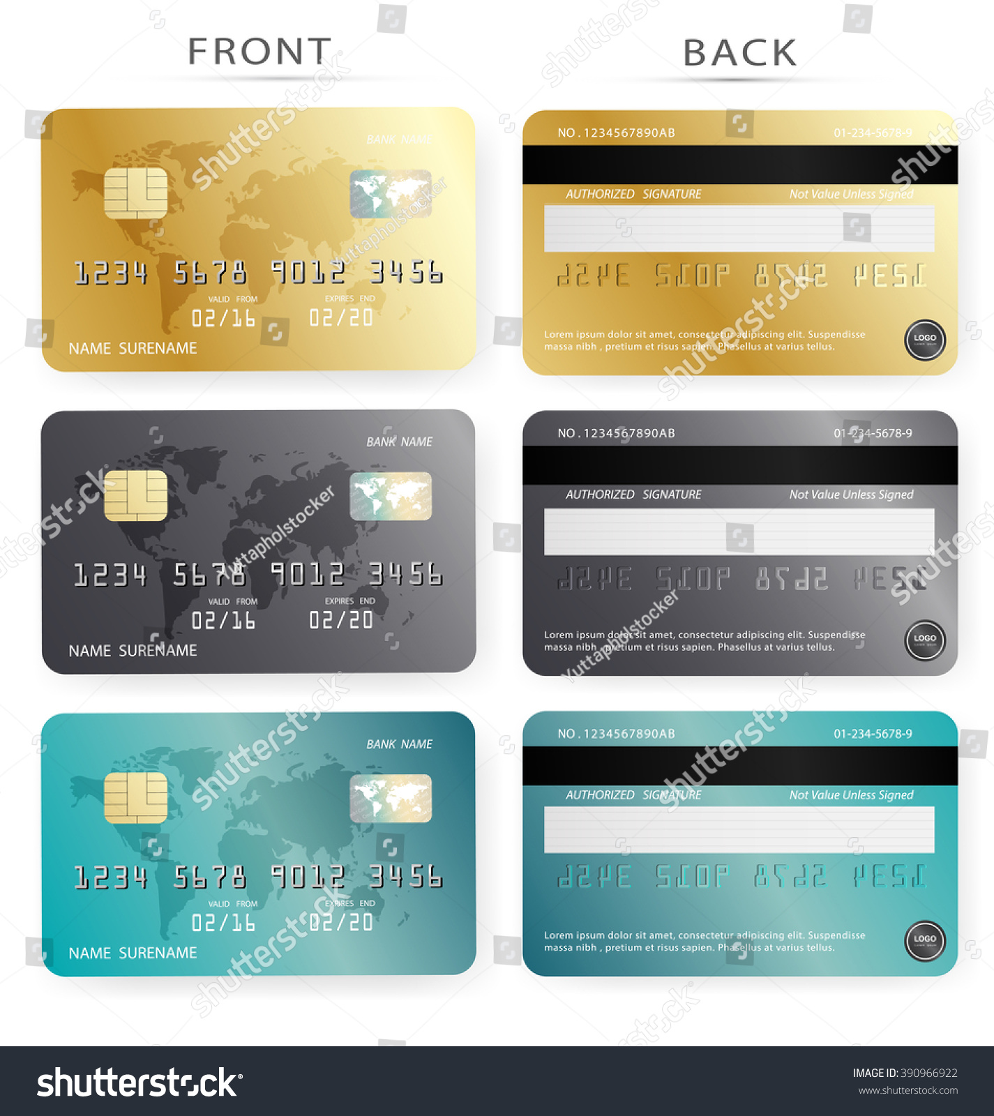 Vector Setcredit Card Design Template Gold Stock Vector 390966922 ...