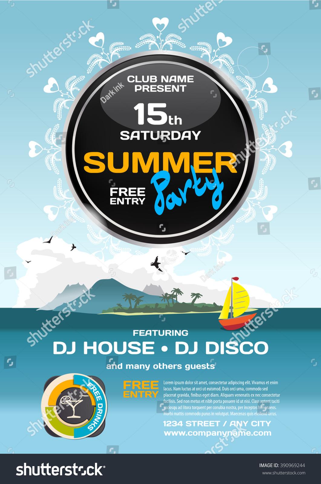 Vector Summer Party Invitation Disco Style Stock Vector 390969244 ...