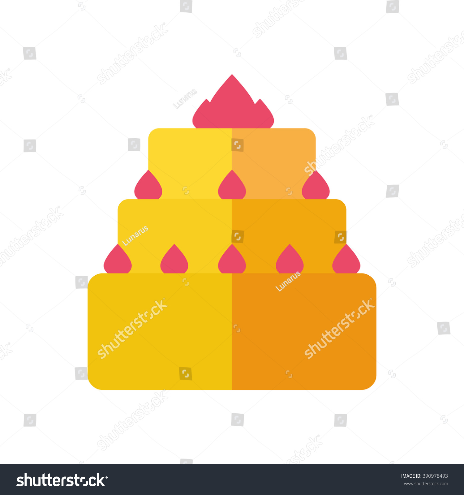 Vector Cake Icon Birthday Cake Isolated Stock Vector 390978493