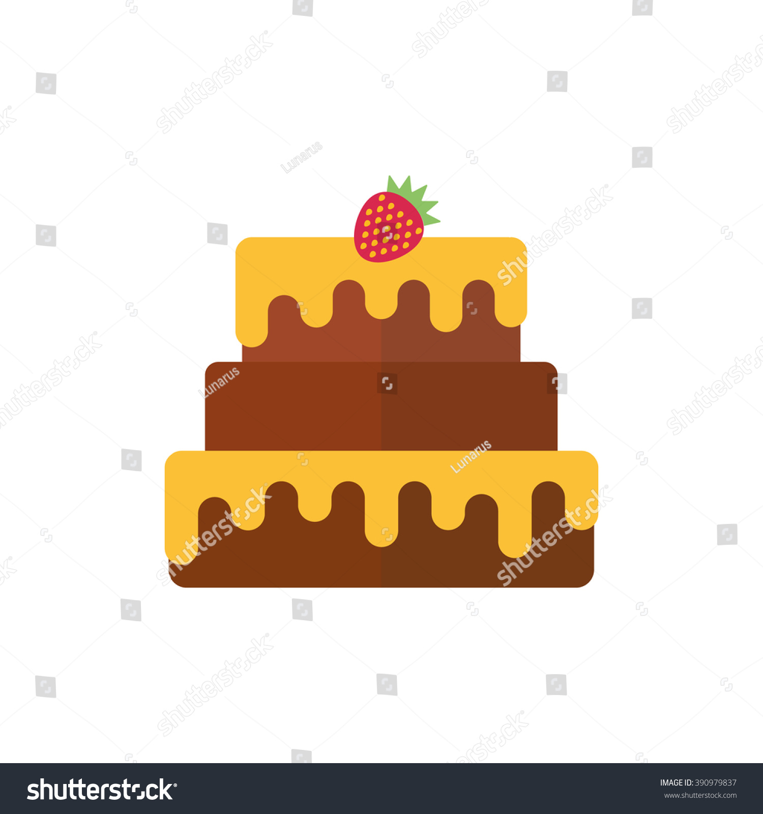 Vector Chocolate Birthday Cake Icon Chocolate Stock Vector Hd