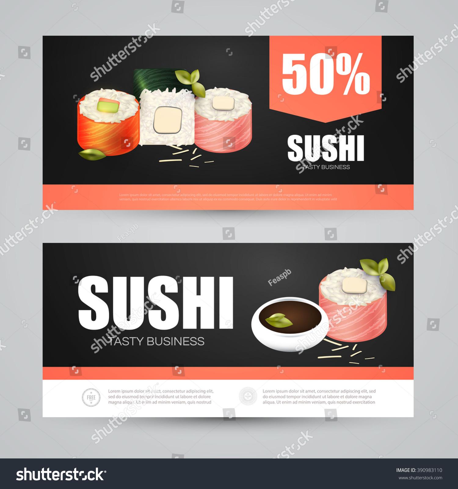 Sushi Flyer Gift Voucher Template Vector Stock Vector 390983110 ...