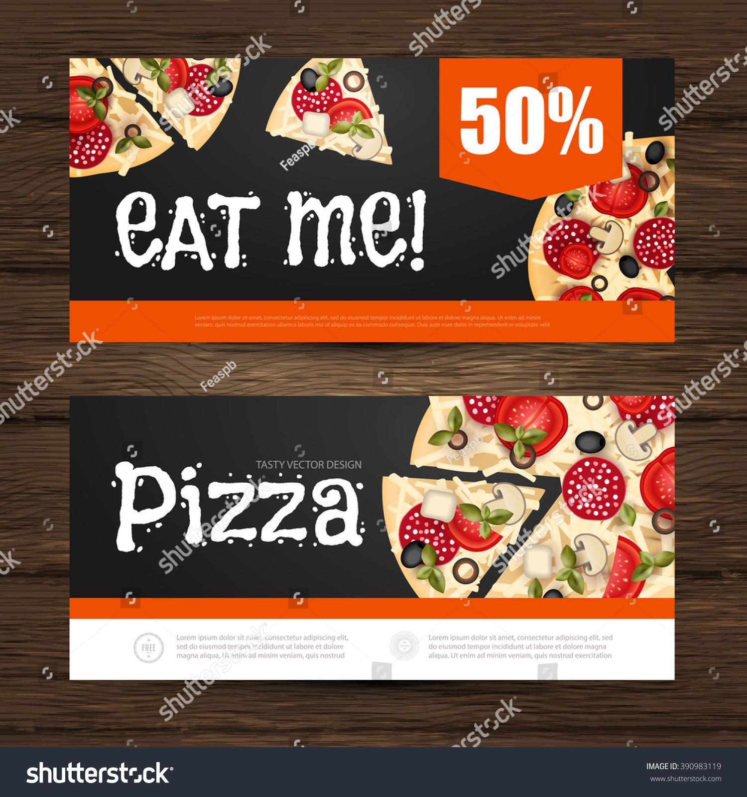 Pizza Flyer Gift Voucher Template Vector Stock Vector Royalty Free