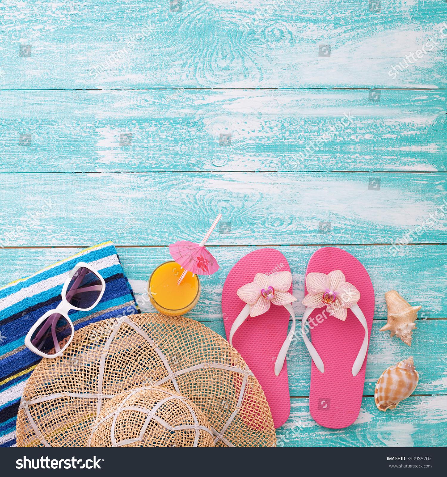 Summer Background Beach Accessories Flip Flops Stock Photo