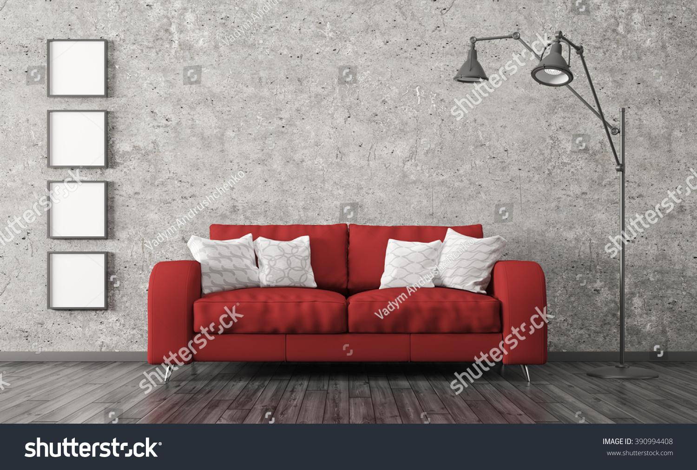 Modern Interior Living Room Red Sofa Stock Illustration