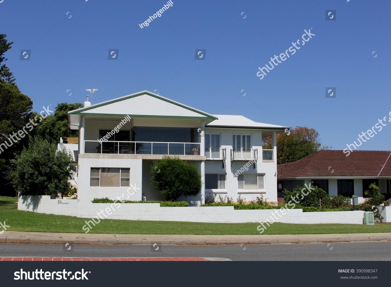 typical suburban australian town house porch stock photo 390998347