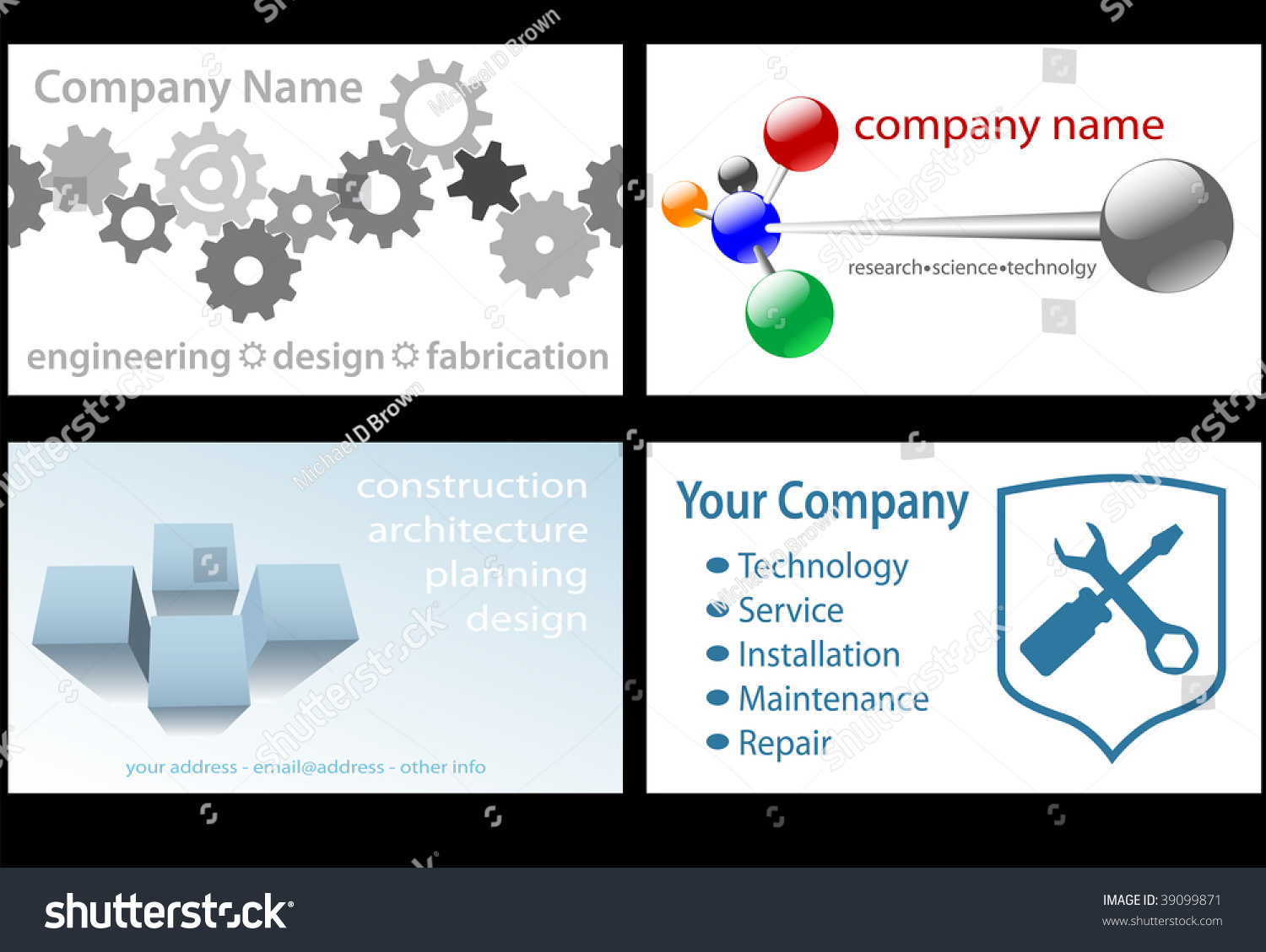 Four Technology Business Designs In Standard Business Card