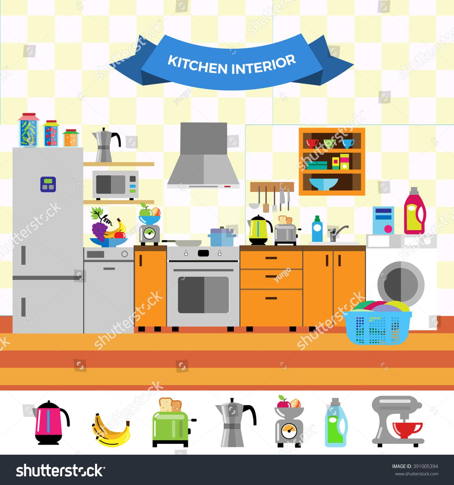 Cartoon cute kitchen interior flat design style for Kitchen design vector