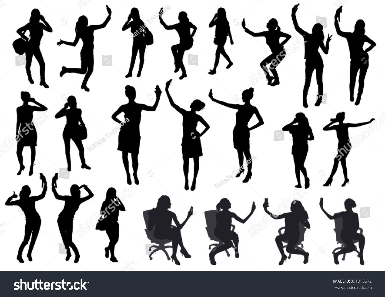 Girl Black Silhouettes Taking Selfie Smart Stock Vector 391015672 - Shutterstock-6286