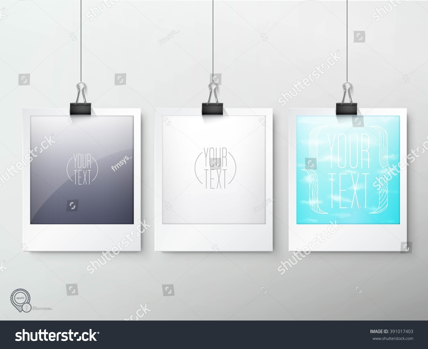Hanging Photo Frames Composition Eps10 Vector