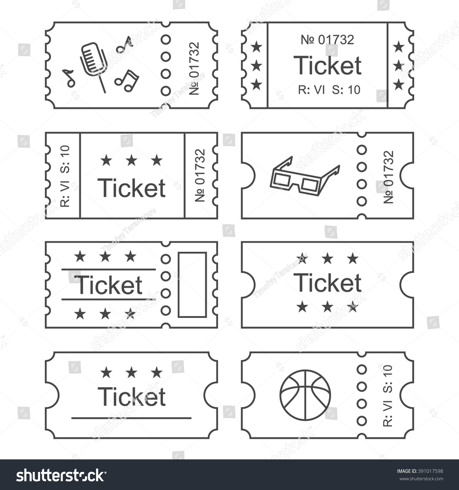 ticket icon outline style vector illustration stock vector ticket icon in the outline style vector illustration ticket stub isolated on a background