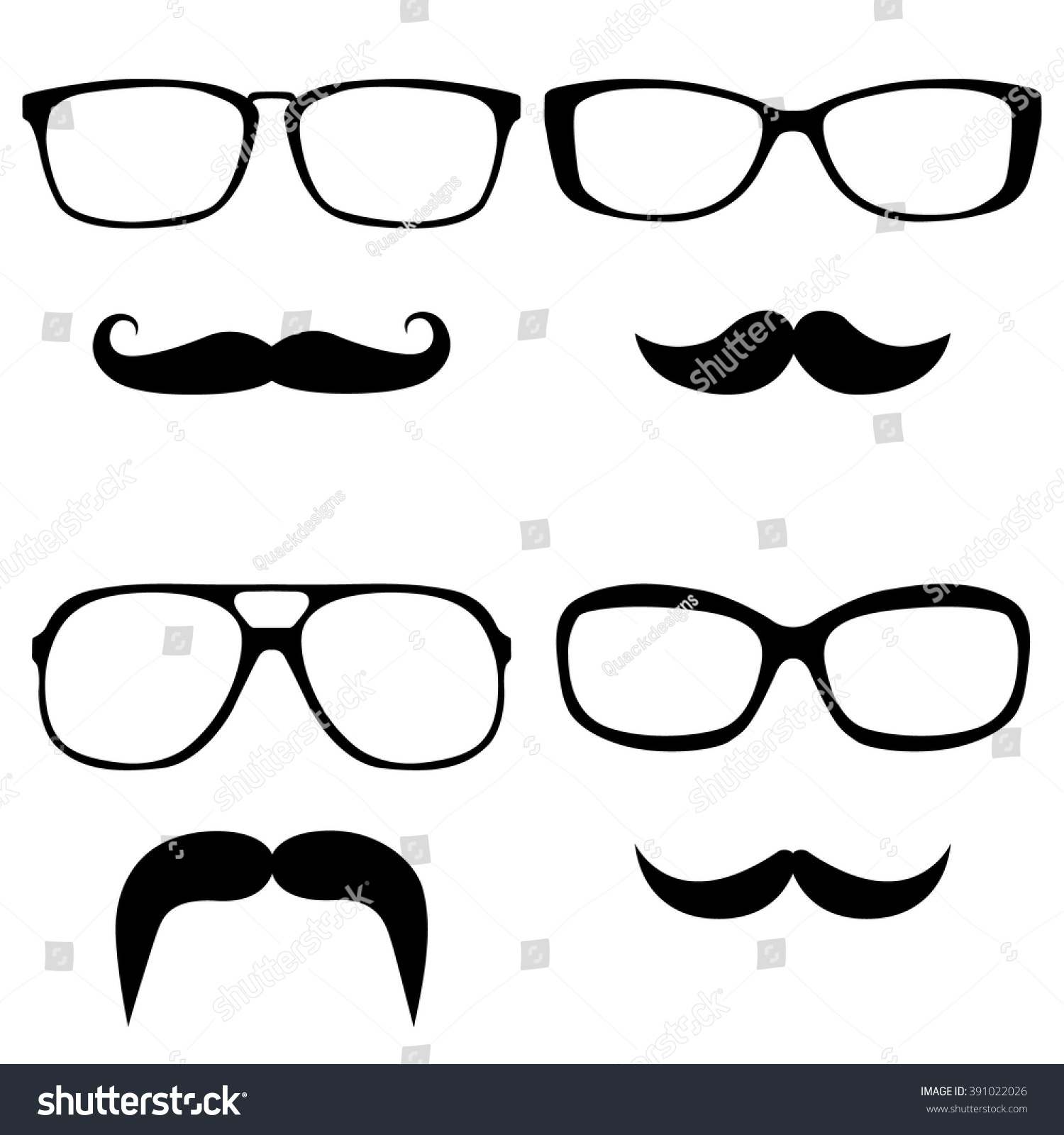 Vector set of hipster mustaches with glasses and sunglasses