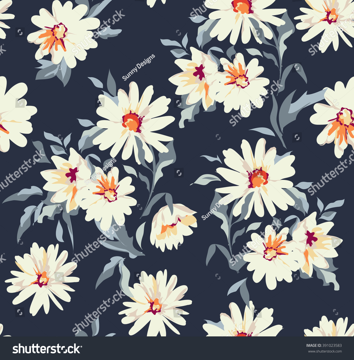 pretty daisy floral print seamless background stock