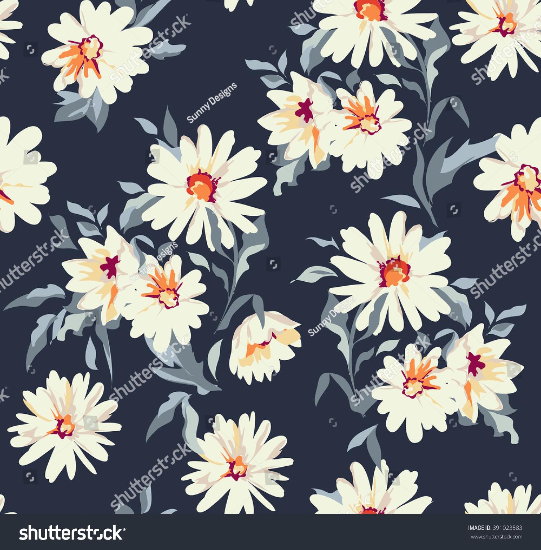 Pretty daisy floral print seamless background stock vector royalty pretty daisy floral print seamless background izmirmasajfo