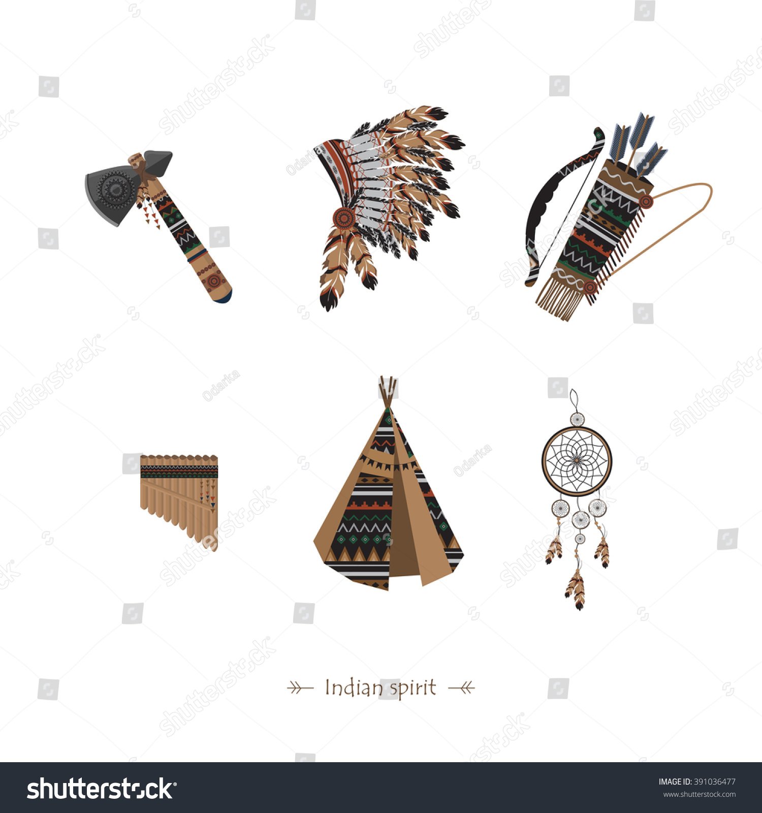 Symbols American Indians Native Americans Dream Stock Vector