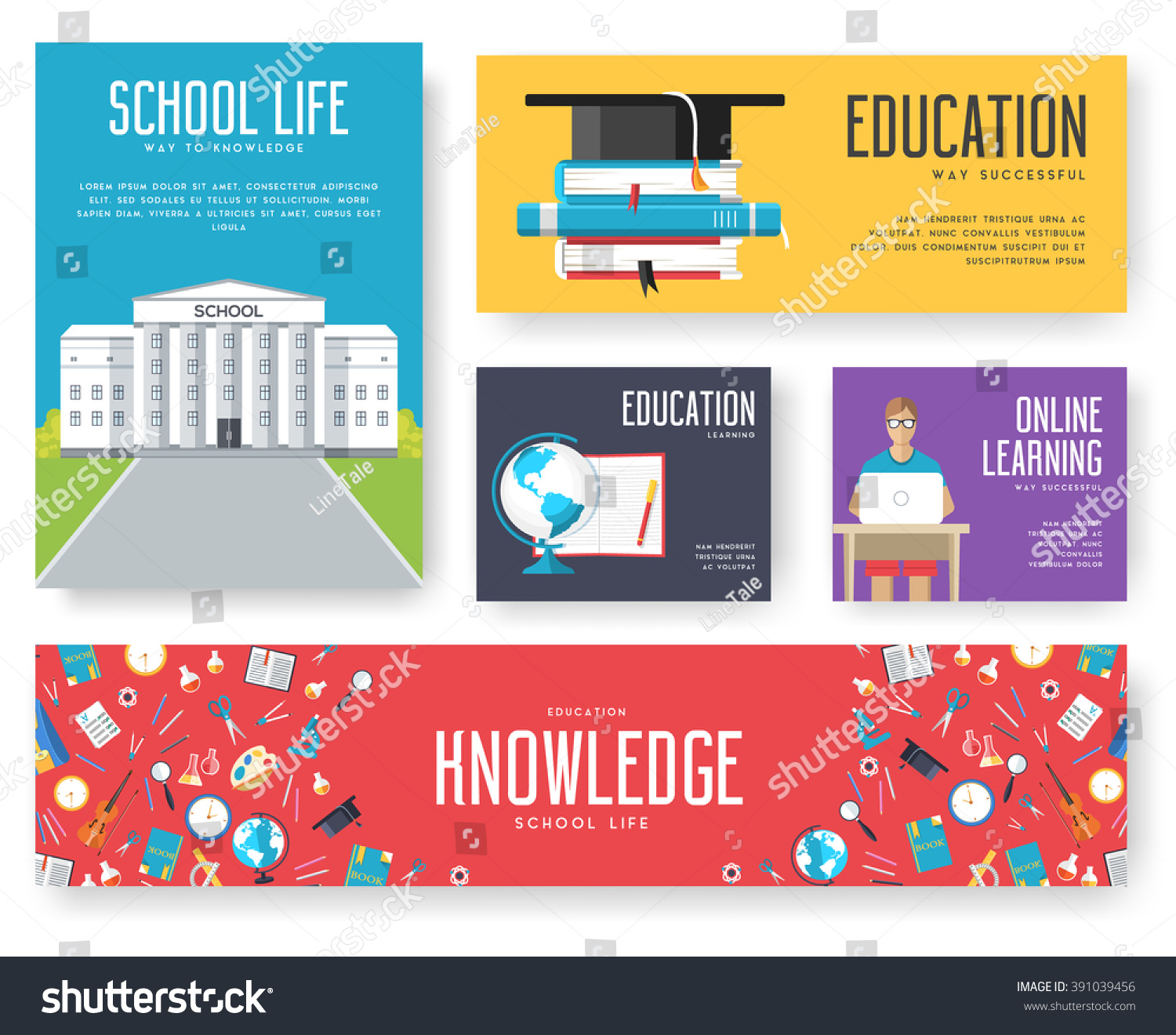 Back School Information Cards Set Student Stock Vector Royalty Free