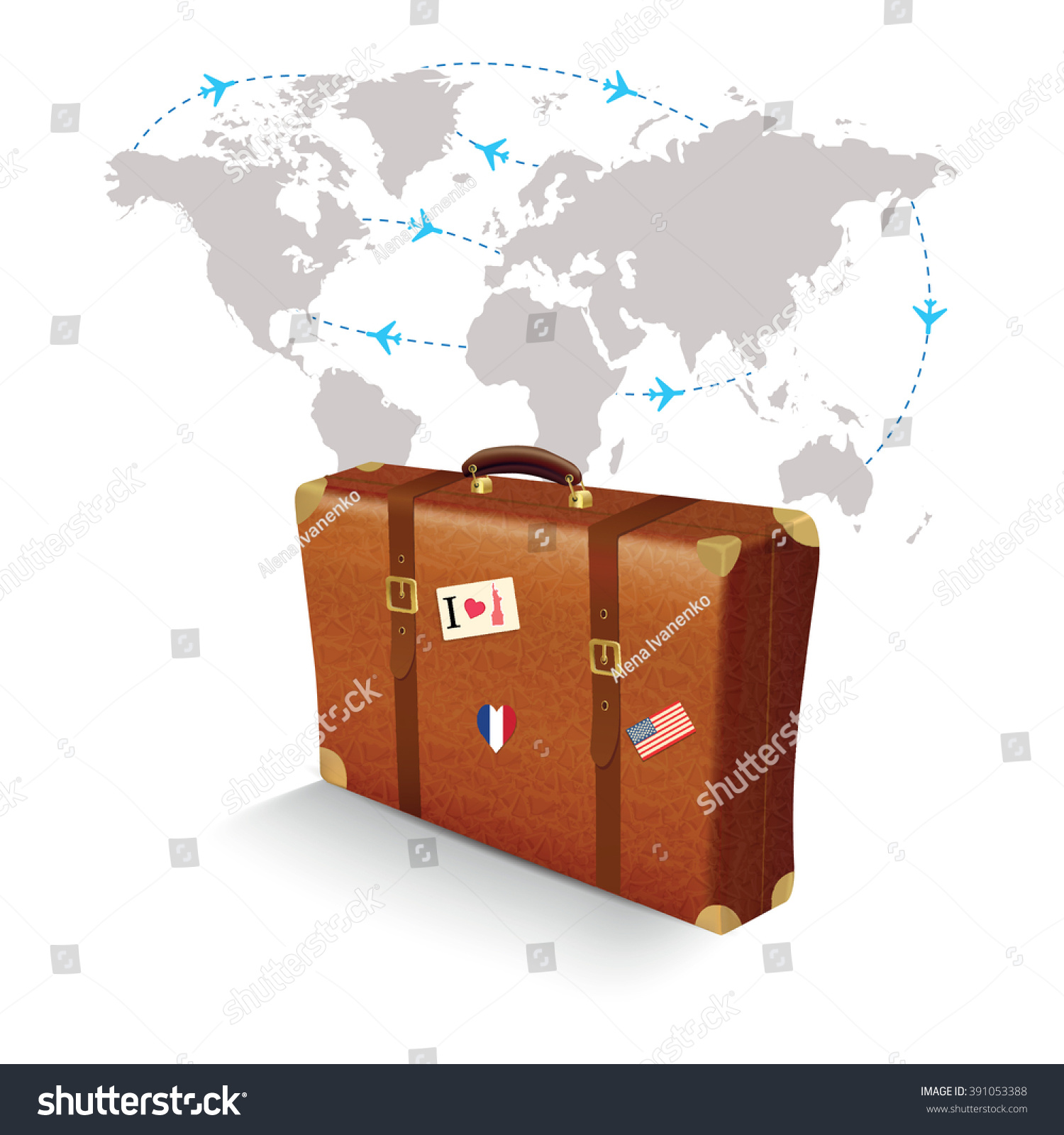 Realistic suitcase travel stickers on world stock vector 391053388 realistic suitcase with travel stickers on world map gumiabroncs Images