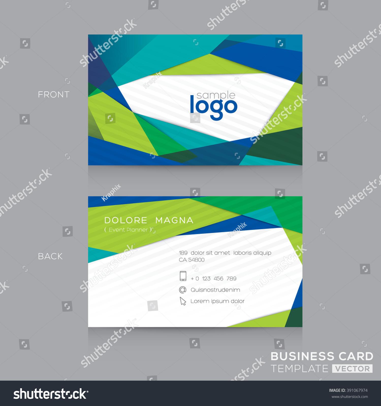 Abstract Modern Blue Green Business Card Stock Vector 391067974 ...