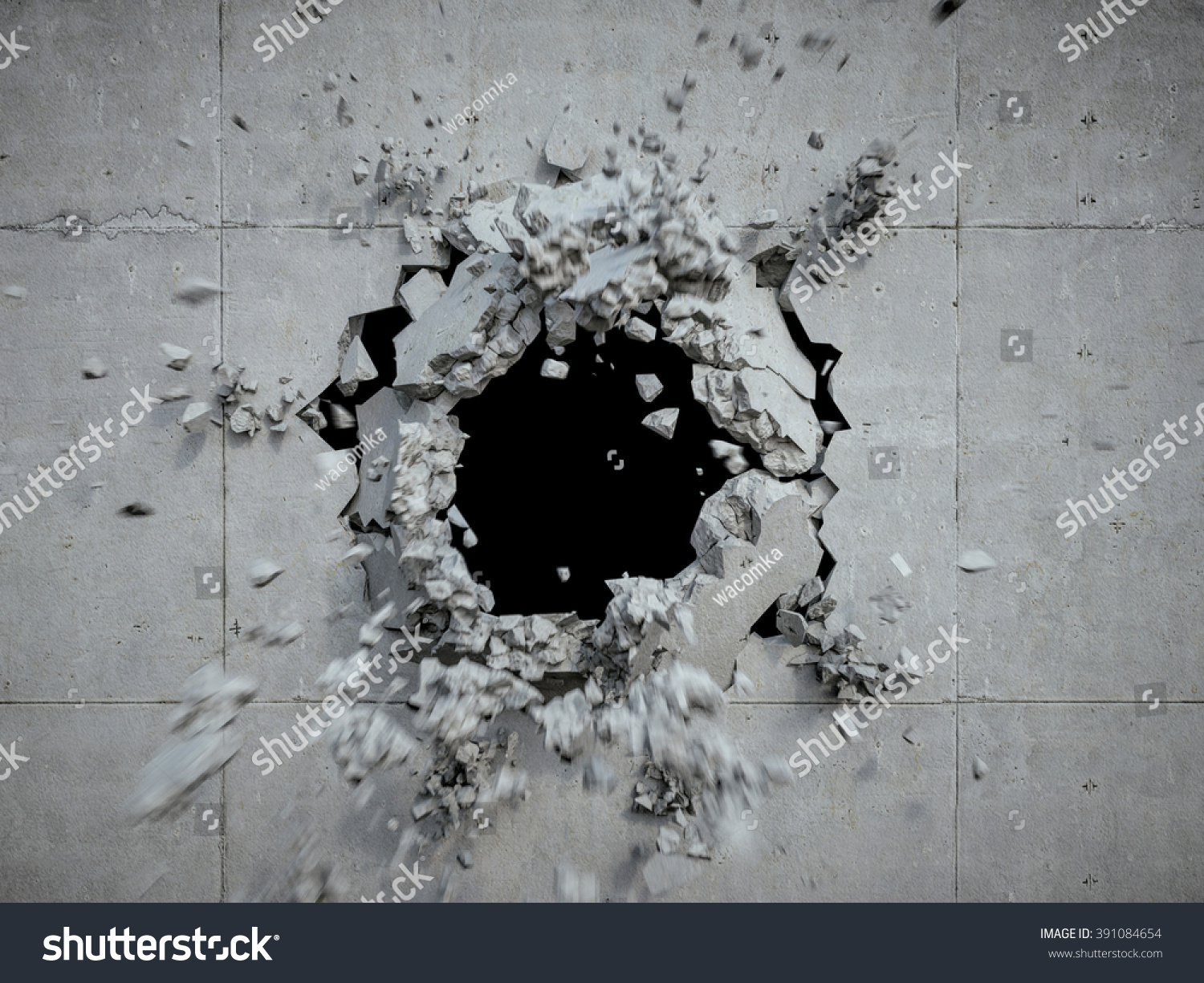 Hole In Concrete Wall : Explosion cracked concrete wall bullet hole stock