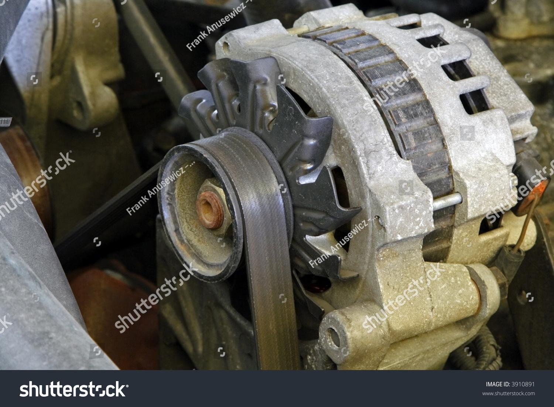 Engine Electrical System : Automobile engine electrical system alternator stock photo