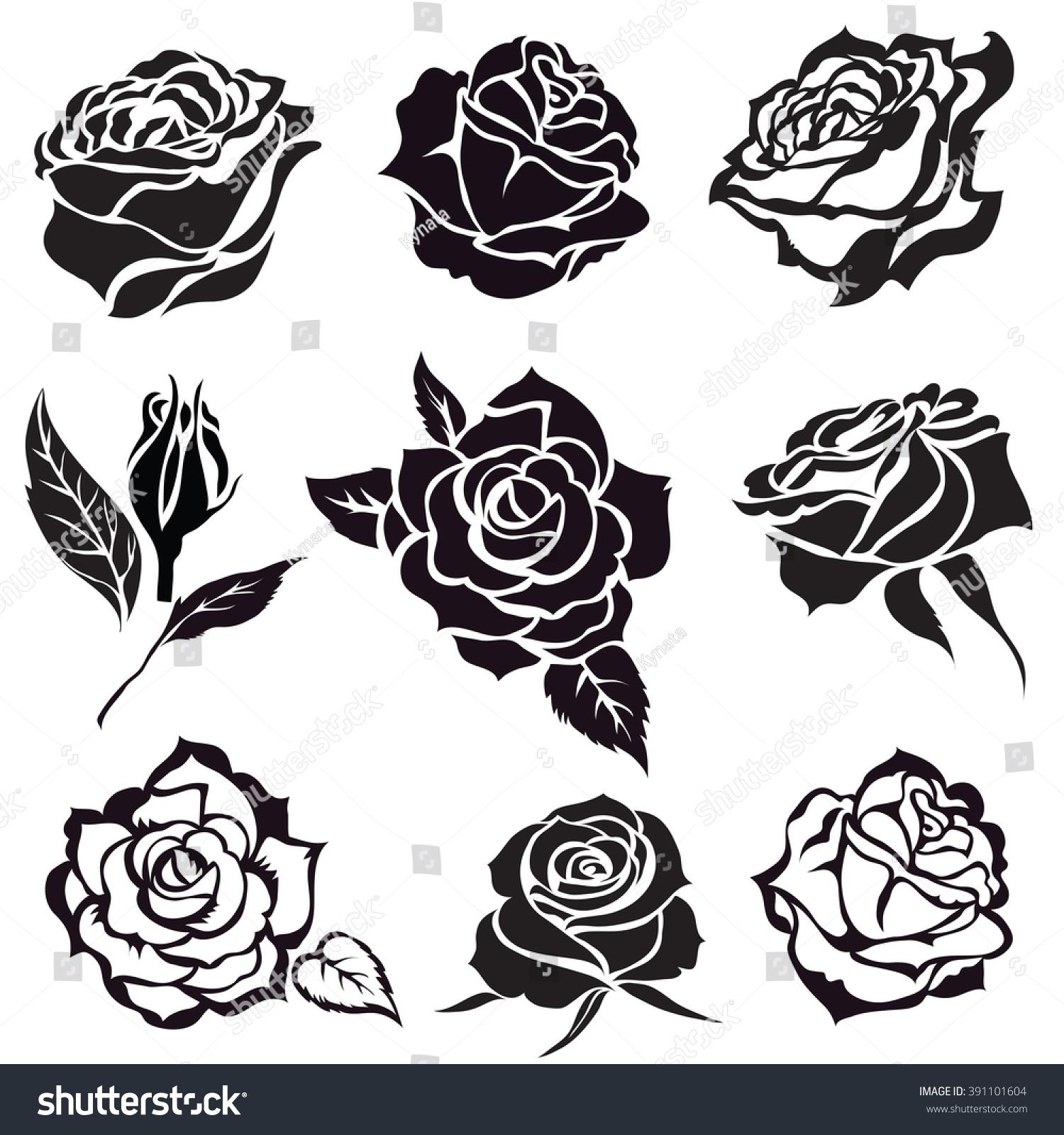 Set Of Black Flower Design Elements Vector Illustration: Set Vector Black Rose Flower Design Stock Vector 391101604