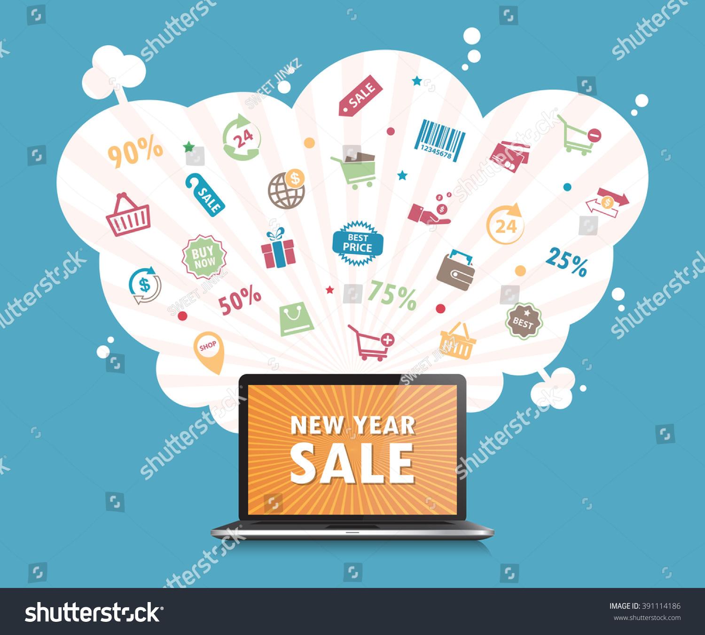 online shopping concept desktop background vector illustration