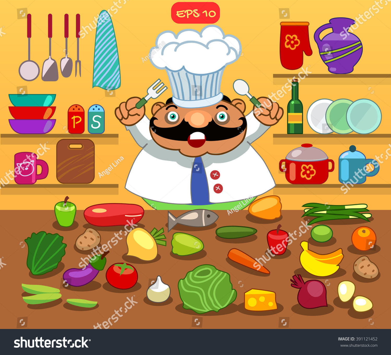 Kitchen. Chef Cartoon Character. Kitchenware And Food Big
