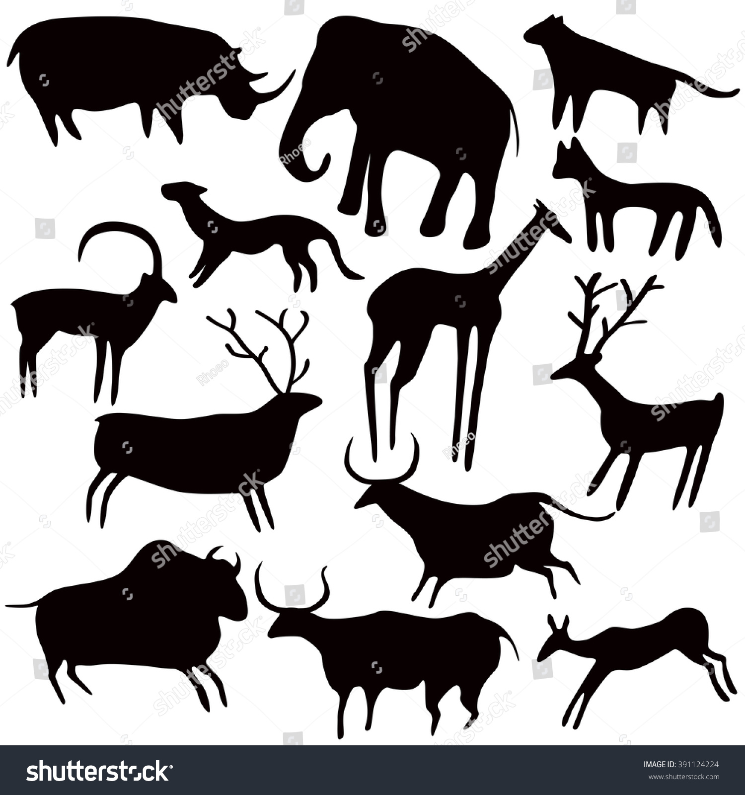Cave Painting Stylized Animals Silhouettes Rock Stock