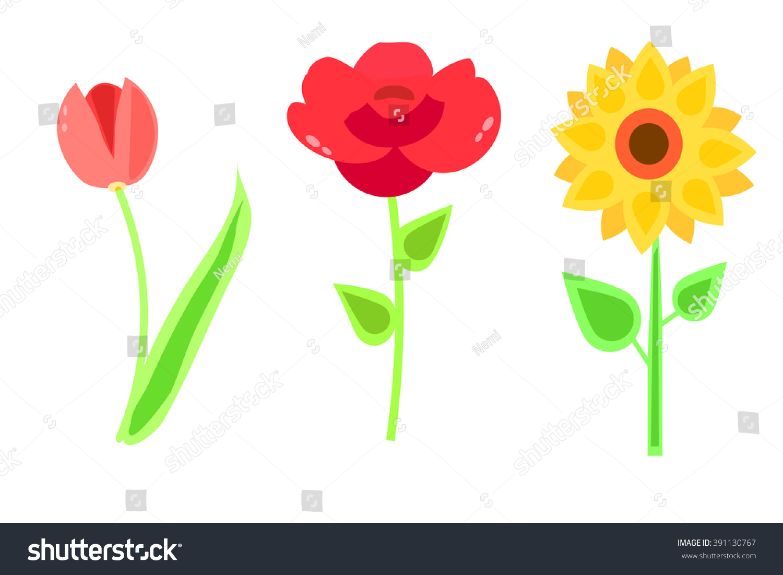 cute cartoon flowers postcard print tulip stock vector 391130767