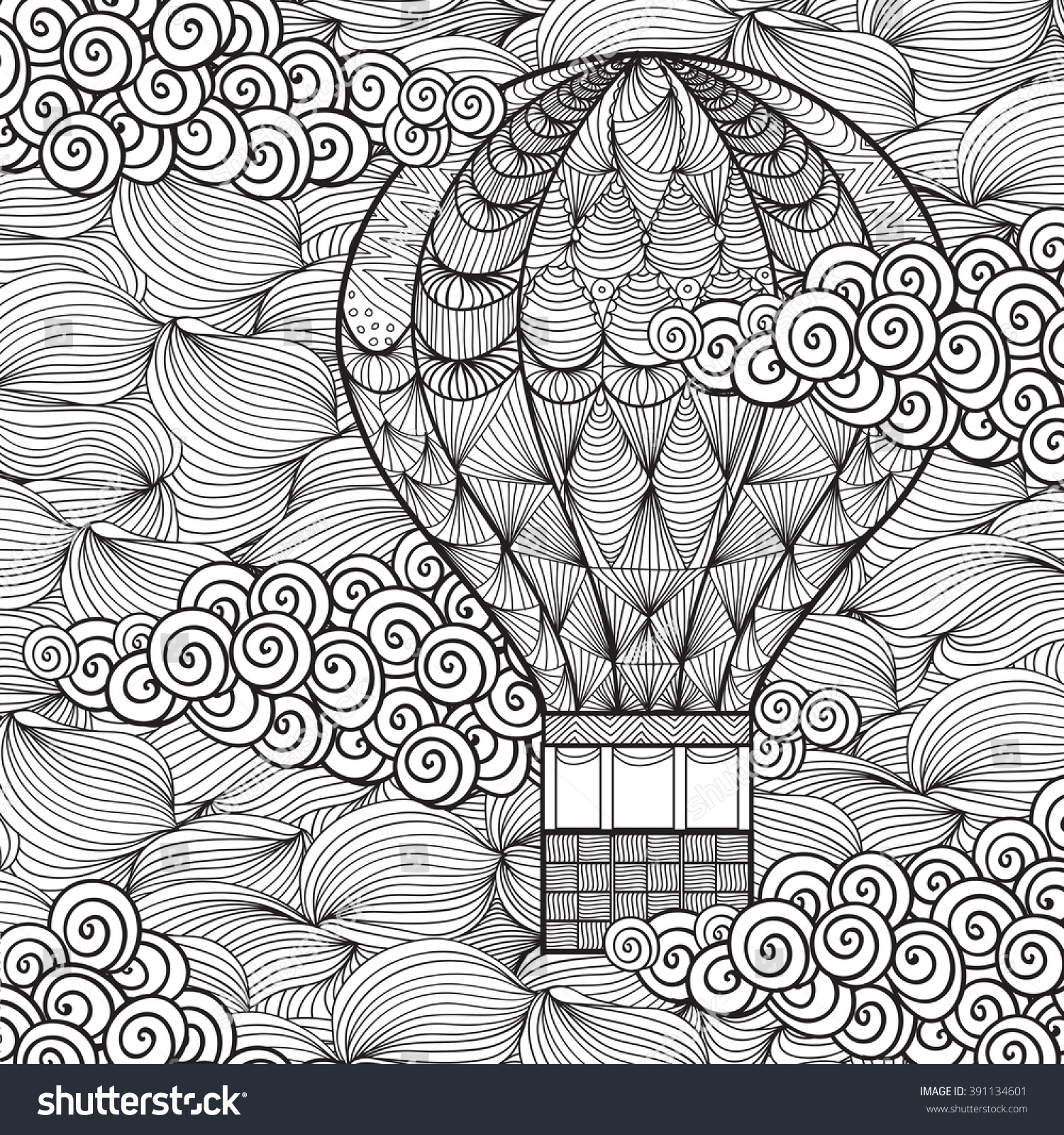 Hand Drawn Adult Coloring Page Air Stock Vector Royalty Free