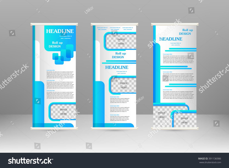 Banner Stand Designs : Roll banner stand design advertisement poster stock vektor